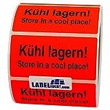 Labelident Warnetiketten 100 x 50 mm - Kühl lagern! Store in a cool place! - 1000 Versandaufkleber auf 1 Rolle(n), 3 Zoll Kern, Papieretiketten in leuchtrot, selbstklebend
