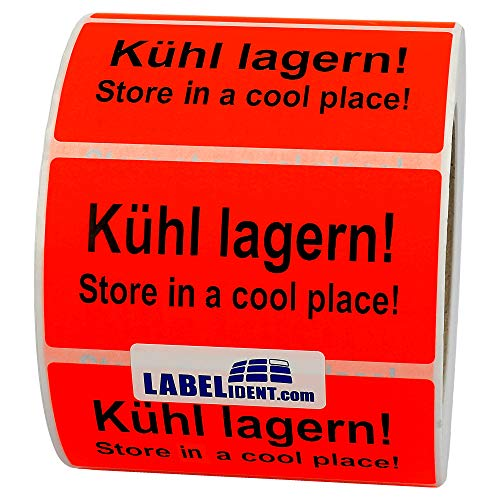 Labelident Warnetiketten auf Rolle 100 x 50 mm - Kühl lagern! Store in a cool place! - 1000 Versandaufkleber auf 1 Rolle(n), 3 Zoll Kern, Papier selbstklebend, leuchtrot
