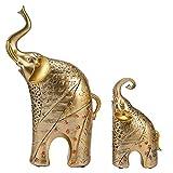 HERCHR Juego de 2 estatuas de Elefante, Figuras de Elefante de Color Dorado con...