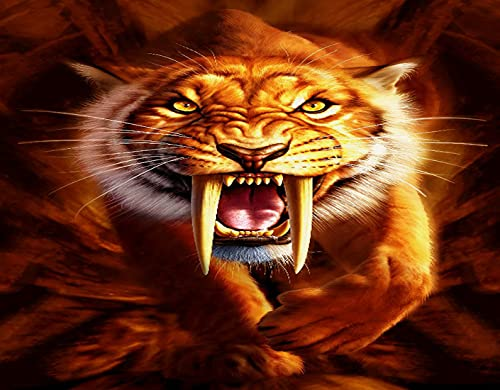CANCAKA DIY 5D Diamond Painting by Number Kits,Yellow Saber Tooth Tiger,Arts for Adults Full Drill Canvas Picture for Home Wall Decor 30x40cm(12x16inch)