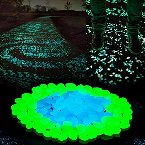 FBAYBF Glow in The Dark Pebbles, Glow Decorative Stones Rocks, Luminous Pebbles for Outdoor Decor, Garden Lawn Yard, Aquarium, Walkway, Fish Tank, Pathway, Driveway-200Blue&Green