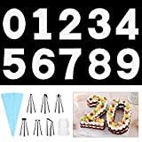 SelfTek 0-9 12 Inch Number Cake Molds DIY Baking Cake Stencils Templates with 6 Icing Tips Icing Smoother and Pastry Bags for Wedding Birthday Anniversary
