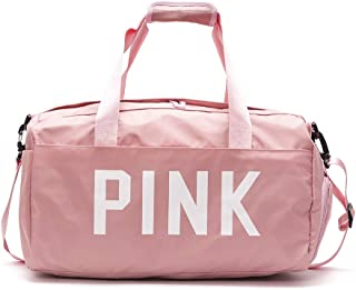 ZOORON Gym Bag with Shoes Compartment for Women, Waterproof Travel Weekender Sports Workout Duffel Swim Gym Bag with Dry Wet Pocket Pink