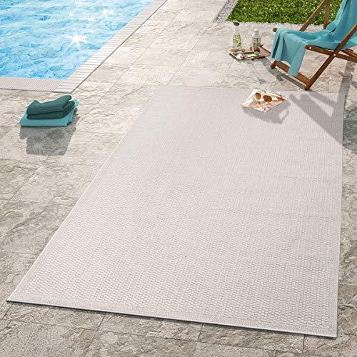 TT Home Moderner Outdoor Teppich Wetterfest Für Innen- Und Außenbereich Einfarbig In Beige, Größe:120x160 cm