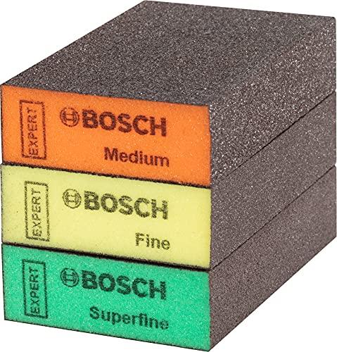 Bosch Professional 3x Expert S471 Standard Blöcke (für Weichholz, Farbe auf Holz, 69 x 97 x 26 mm, Feinheitsgrad Mittel / Fein / Superfein, Zubehör Handschleifen)