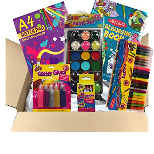 Schilderij & Kleuring Kunstset | A4 Wit Schetsblok | A4 Kleurboek | 18 Kleur Verfpalet & Penseel | 5 Glitter Lijmen | 16 Kleurpotloden | 24 Verschillende Pennen
