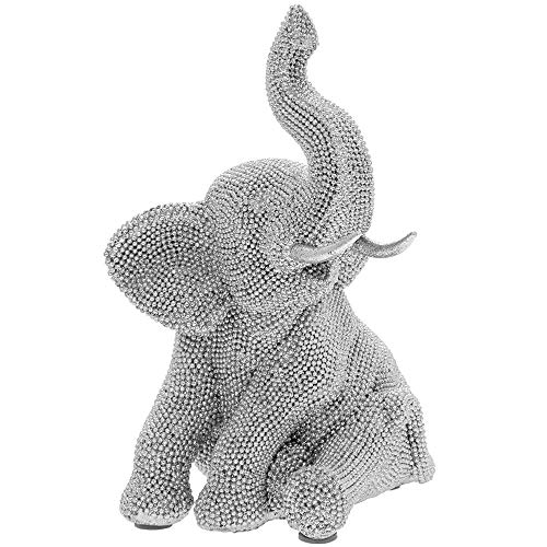 SC Gifts FANTASTIC SILVER SPARKLE STUDDED ELEPHANT SIT FIGURINE STATUE NEW & BOXED 24cm