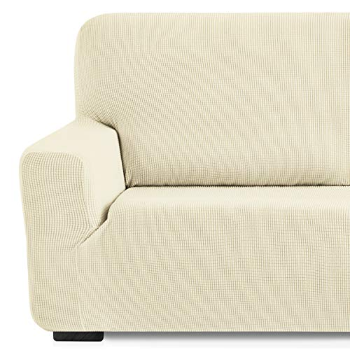 Eiffel Textile Monaco Elastica Adaptable. Funda Sofa Lisa, 94% poliéster 6% Elastano, Marfil, Set 3+2 Plazas