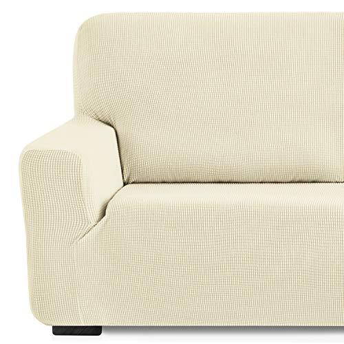 Eiffel Textile Monaco Funda de Sofa Elastica Adaptable, 94% poliéster 6% Elastano, Marfil, 3 Plazas (180-240 cm)
