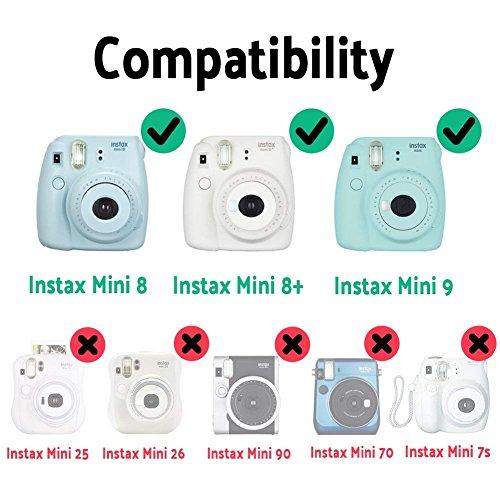 Katia Instant Camera Accessories Bundle Compatible for Fujifilm Mini 9 / Mini 8+ / Mini 8 Instant Film Camera. Includes Camera Case, Album, Frame, Stickers, Strap,etc - Kapok