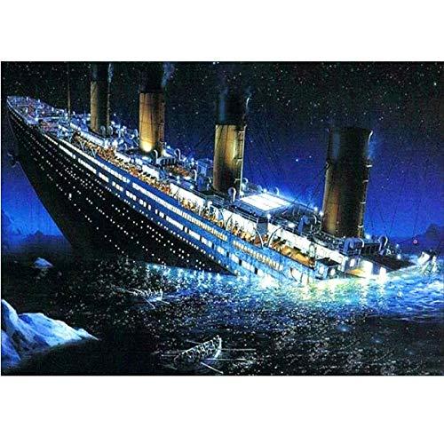 Kit de pintura de diamante 5D, Titanic Shipwreck Sea Boat WOWDECOR taladro completo DIY diamante Art pintura de punto de cruz por números