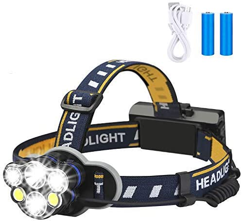 Rechargeable headlamp,Elmchee 6 LED 8 Modes 18650 USB Rechargeable Waterproof Flashlight Head Lights for Camping, Hik...