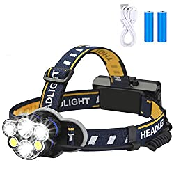 top rated Rechargeable Headlights, Elmchee 6 LED 8 Mode 18650 USB Rechargeable Waterproof Headlights… 2021