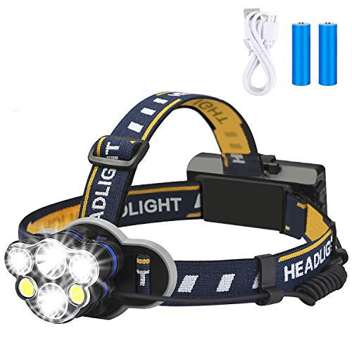 top 10 headlamps Rechargeable Headlights, Elmchee 6 LED 8 Mode 18650 USB Rechargeable Waterproof Headlights…