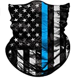 Obacle Bandana Face Mask for Dust Wind Sun Protection Seamless Bandana Mask Men Women Festival Fishing Hunting Riding Work Outdoor Running Tube Mask Neck Gaiter (US Flag 1 Blue Line)