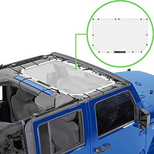 ALIEN SUNSHADE Jeep Wrangler JK or JKU (2007-2018) Front Sun Shade Mesh Top Cover (White) – 10 Year Warranty – Blocks UV, Wind, Noise