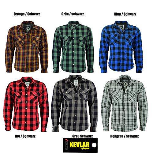 BOS Lumberjack Jacken-Hemd Rot, Reißfest, Wasserabweisend, (2XL, Grau Kariert)