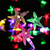WONFAST Solar Starfish String Lights, Waterproof 20ft 30 LED Starfish Fairy String Lights with 2 Modes Christmas Solar String Lights for Garden, Wedding, Party and Holiday Decorations(Multicolor)
