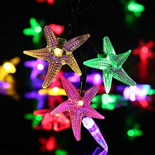 Solar Starfish String Lights,WONFAST Waterproof 20ft 30 LED Starfish Fairy String Lights with 2 Modes Christmas Solar String Lights for Garden, Wedding, Party and Holiday Decorations (Mutciolor)