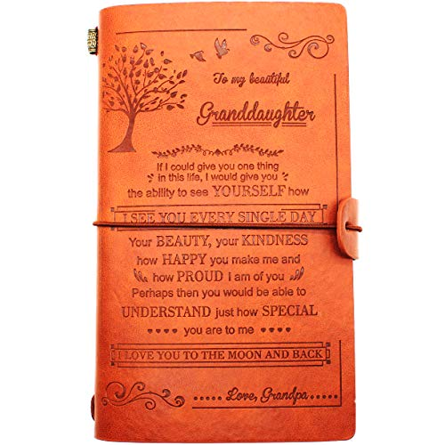 Leather Journal – Gifts from Grandpa to Granddaughter, Birthday, Holiday, Christmas, New Year – 1 Set (02)
