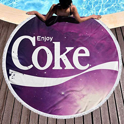 Leo-Shop Toalla de Playa Redonda Toalla de Playa Manta con borlas Tirar Tapiz de Picnic Tapicería Redonda Círculo Tapetes de Playa (Disfrute de Coca-Cola)