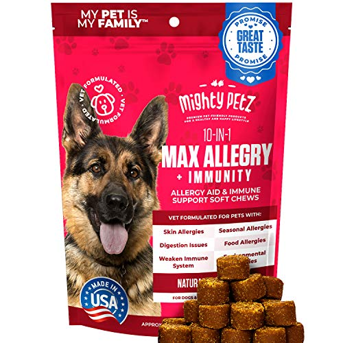 MAX Dog Allergy Relief - Itch Free Skin - Immune Supplement with Omega 3 Fish Oil + Probiotics + Colostrum. Hot Spots + Seasonal Allergies + Digestive Support. Vet formulated 120 Chews for Dogs & Cats