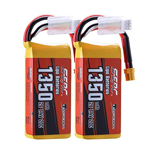 SUNPADOW 2 Pack 2S 7.4V Lipo Batteria 1350mAh 20C Soft Pack with XT30 Plug for RC FPV Helicopter Airplane Drone Quadcopter Racing Hobby