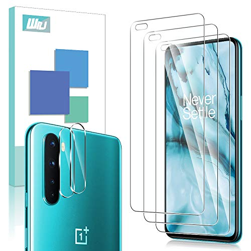 [3+2 Pack] WRJ 3 Pack Screen Protector + 2 Pack Camera Lens Protector for OnePlus Nord,HD No-Bubble 9H Hardness Tempered Glass