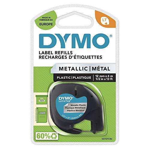 DYMO LT Metallic Etikettenband Authentisch | schwarz auf Metallic-Silber | 12 mm x 4 m | selbstklebendes Etiketten | für LetraTag-Beschriftungsgerät