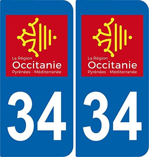 SAFIRMES 2 Stickers Autocollant Plaque immatriculation Auto 34 Occitanie - Logotype