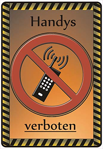 Netspares 141545501 Schild Hinweisschild Hinweis Handys verboten Mobiltelefon Mobile Phone Tel SOS