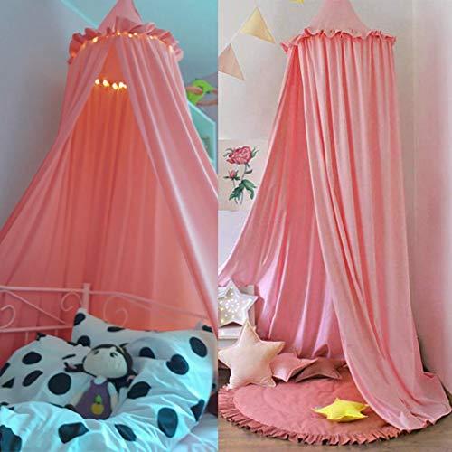 OldPAPA betthimmel Kinder,Dome Moskitonetz Betthimmel aus Spitze & Baumwolle für Schlafzimmer Ankleidezimmer Spiel Lesen Zeit Höhe 240cm(Rosa)