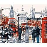 London Street Painting DIY Paisaje Lienzo acrílico para decoración de Bodas Pintura 40X50cm sin Marco