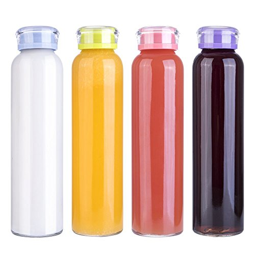 MIU COLOR Glass Water Bottles, Glass Beverage Bottles, Juice Bottle, 16 oz, BPA Free, 4 Pack