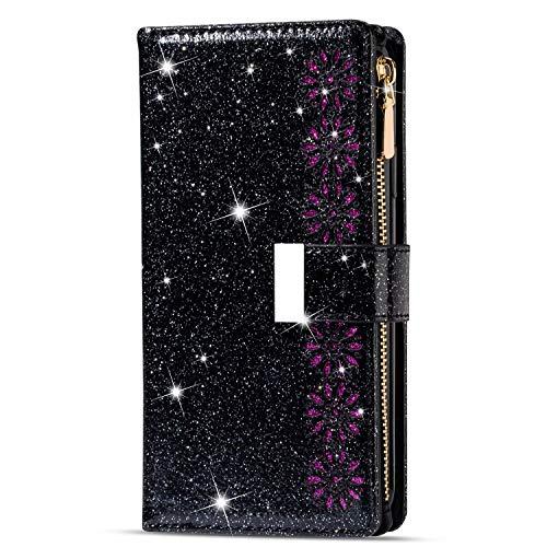 TTNAO Funda para Samsung Galaxy S9Plus/G965,Cartera Piel Carcasa ,Plegable Práctica Carcasa Móvil Brillante ,9 Ranura para Tarjeta Resistente a Los Arañazos Antichoque-Negro