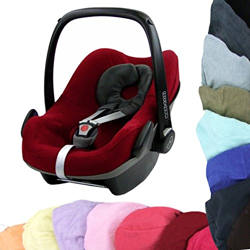 BAMBINIWELT Sommerbezug, Schonbezug, Bezug aus Frottee für MAXI-COSI PEBBLE Babyschale (bordorot)