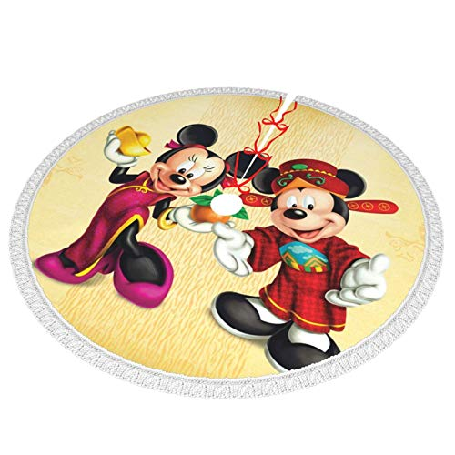 Cartoon Mickey Mouse Christmas Tree Skirt - Halloween Christmas Tree Decorations Large Thick Luxury Tree Mat Decor Skirt, Holiday Party Supplies Decorations Xmas Ornaments 48