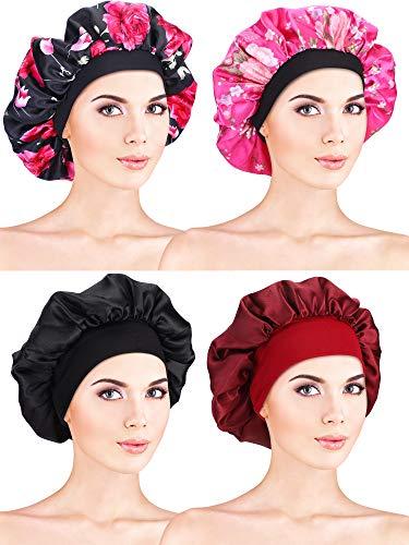 4 Stück Satin Mütze Schlafmütze Weiche Nachtmütze Kopfhaube für Damen Mädchen (Farbe Satz 1)