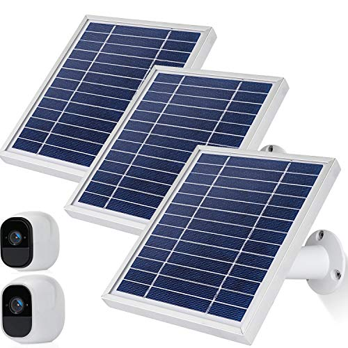 iTODOS Solar Panel Works for Arlo Pro and Arlo Pro2 Camera,11.8feet Power Cable and Adjustable Mount (3 Pack,Silver)