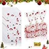 100 Bolsa Caramelos,bolsas de regalo de navidad,Bolsas de Dulces de Navidad,bolsa caramelos navidad,Bolsas de Celofan de Navidad,bolsas de regalo de navidad (C)