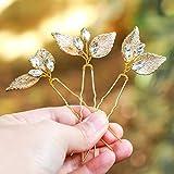 handcess boda pelo pins oro Leaf Pin de brillantes de novia pelo Clips para novias y damas de honor (Set de 3)