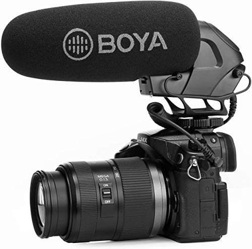 BOYA BY-BM3032 Video-Shotgun-Mikrofon mit Superniere auf der Kamera Broadcast Condenser Interview Kapazitive Mikrofonkamera Videomikrofon Kompatibel mit Canon Nikon Sony DSLR-Kameras und Camcorder