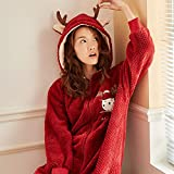 Las Mujeres De Manga Larga Pijama Conjunto Pijamas Set de vacaciones pijama ropa de noche del paño grueso y suave Loungewear completa Bodies terciopelo grueso de la franela de los ciervos de Navidad l