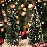 KATELUO 9Stück Mini Grün Tannenbaum,Künstlicher Weihnachtsbaum Miniatur,Mini Weihnachtsbaum Künstlicher,Weihnachtsbaum Schnee Klein mit Holzsockel,für Weihnachtsdeko/Tischdeko/DIY/Schaufenster,3Größen - 7