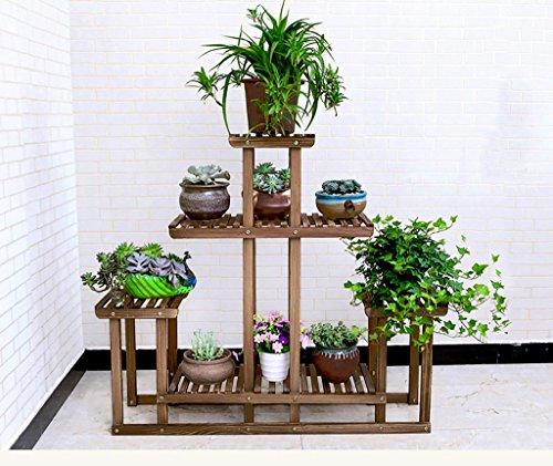 Porte-fleurs Tablette à plantes Bois massif Multicouches Au sol Porte-pots de fleurs Ménage Marron/blanc (Couleur : A, taille : 95 * 25 * 91cm)