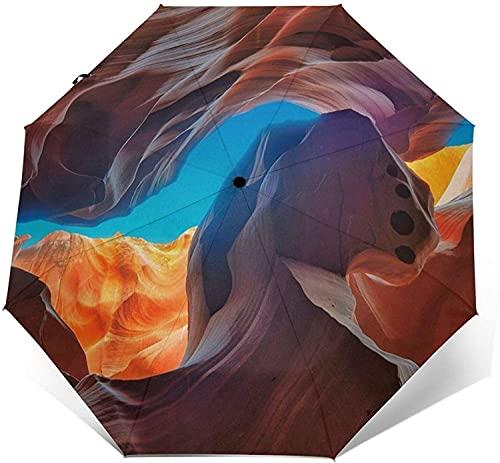 Paraguas Automático De Tres Pliegues Protector Solar Impermeable Personalizado Robusto Viaje A Prueba De Viento Paraguas Ligeros Para Mujeres Y Hombres-Antelope Canyon-Talla Única, Beauty Tall Canyo
