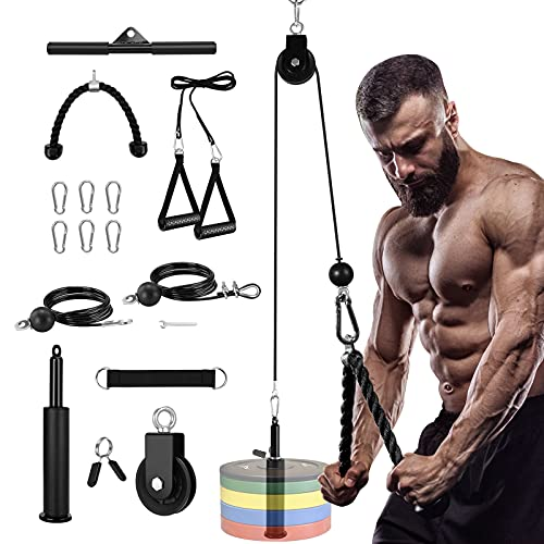 Fitness Cable Pulley System DIY Pulley Cable Machine Attachment System for Home Gym Wall Mounted Lat Pull Down Machine Workout Pulley System Exercise Equipment for Triceps Extension Biceps Curl