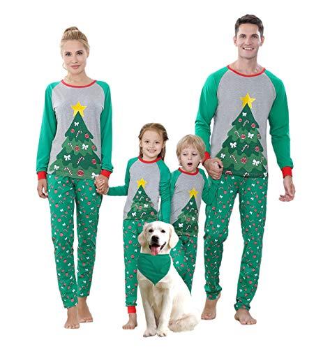 Benaive Matching Family Christmas Pajamas Set Boys Girls Holiday xmas Pjs for Family Toddlers Kids Children Sleepwear Cotton Womens Mens Pyjamas Jammies (Green & Grey, Christmas Tree, Kid-18-24M)
