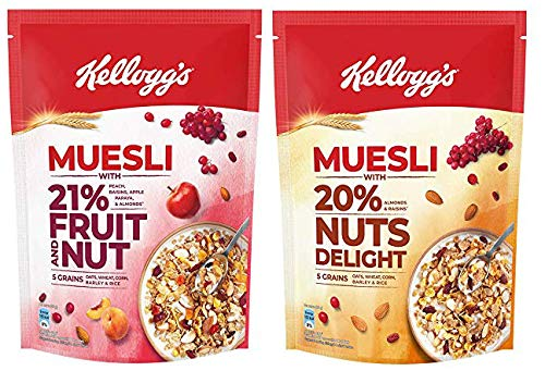 Kellogg's Combo, Kellogg's Muesli with 21% Fruit and Nut Pouch, 750 g and Kellogg's Muesli with 20% Nuts Delight Pouch, 750 g