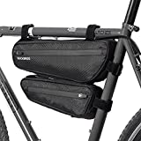 ROCKBROS Bolsa Cuadro de Bicicleta, Bolsa a Prueba de Agua Multifunción para MTB Bicicleta Carretera Ciclismo, Negro